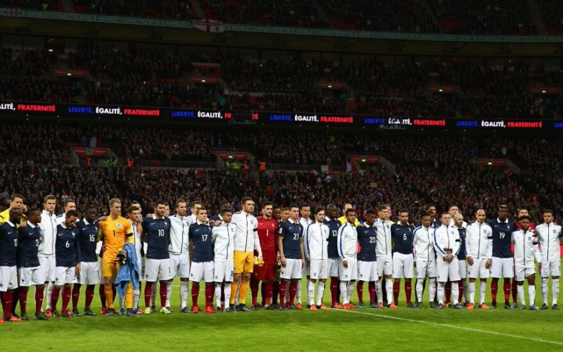 Football players and fans unite at England-France game