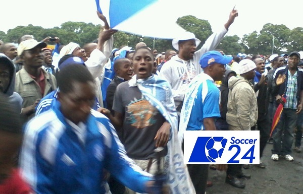 Angry Dynamos fans outside Rufaro Stadium